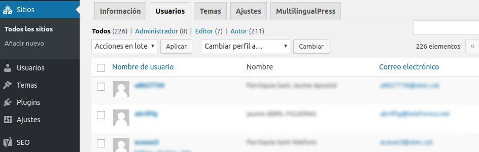 Añadir usuario en multisite de WordPress