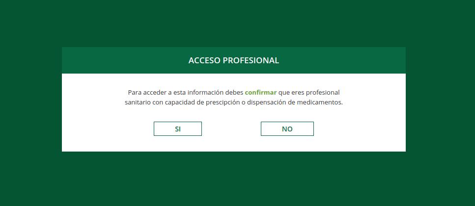 Popup de página de empresa farmaceutica solo para profesionales sanitarios