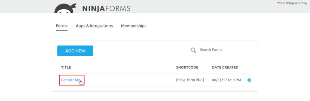 elegir formulario de Ninja Form