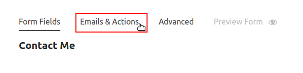 seleccionar acción de Ninja Form